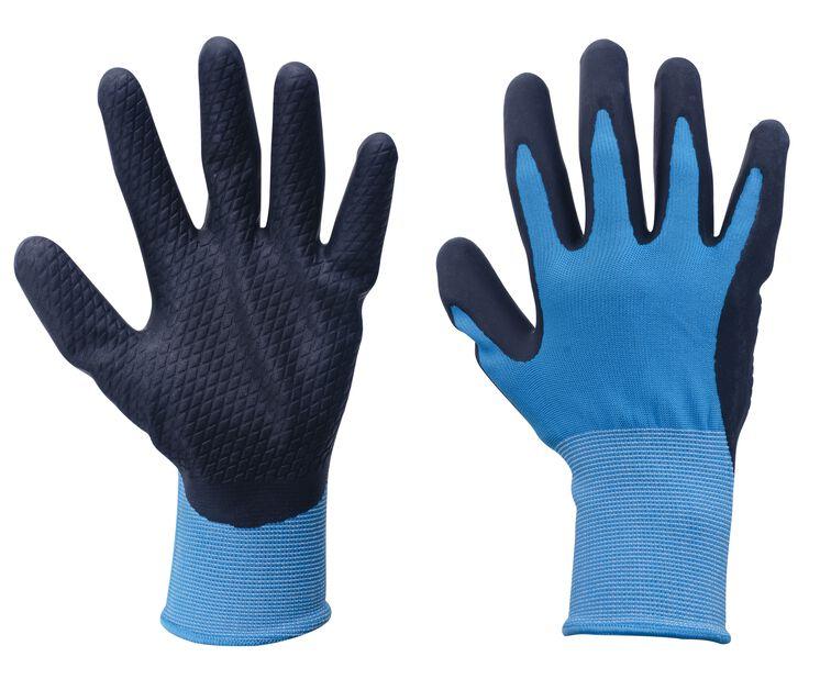 Lateksipinnoitetut puutarhakäsineet, M, Sininen