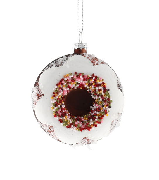Kuusenkoriste donitsi, Korkeus 9 cm, Valkoinen