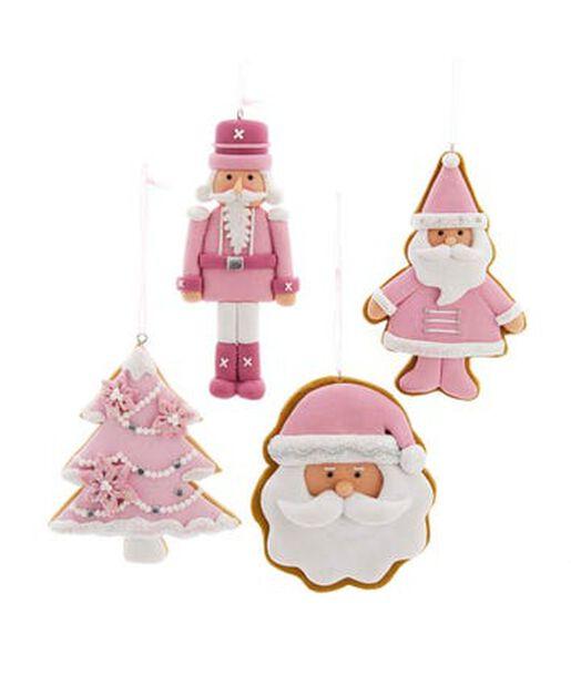 Joulukoriste vaaleanpunainen joulupukki/pähkinänsärkijä/joulukuusi, Korkeus 0.5 cm, Pinkki