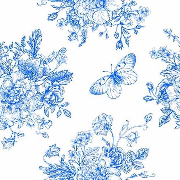 Lautasliina perhonen ja kukat, Leveys 33 cm, Sininen