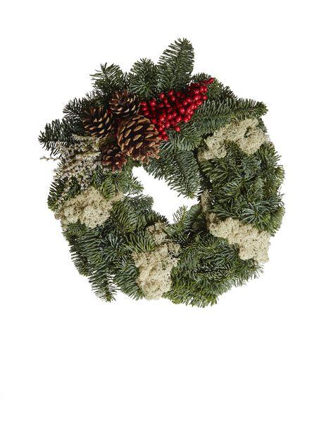 Havu/ jäkäläkranssi koristeella , Korkeus 25 cm, Useita värejä