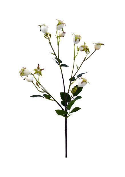 Ruusunmarjaoksa tekokasvi, Pituus 74 cm, Valkoinen