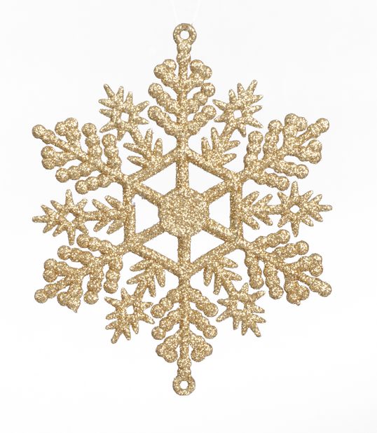 Kuusenkoriste lumihiutale 6 kpl, Ø11 cm, Kulta