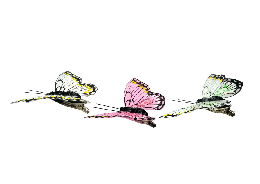 Koristeperhosia nipsuilla., Leveys 8 cm, Useita värejä