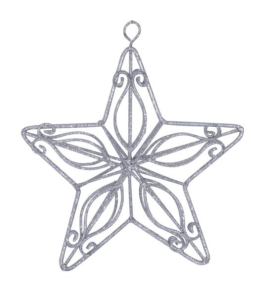 Kuusenkoriste Silver Star, Ø14 cm, Hopea