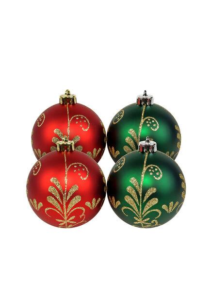 Joulupallo 4 kpl, Ø8 cm, Punainen