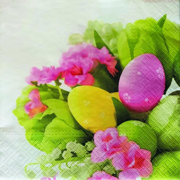 Pääsiäisservetti pääsiäismunat ja kukat, Leveys 33 cm, Monivärinen