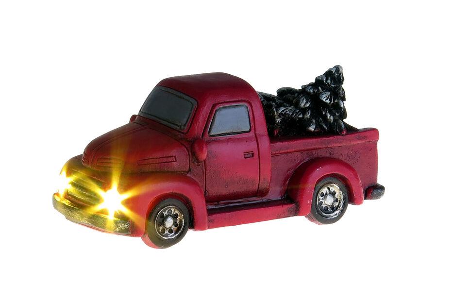 Joulukoriste lava-auto valoilla, Korkeus 5 cm, Punainen