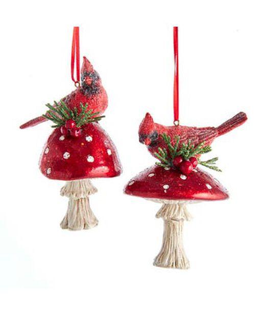 Joulukoriste lintu ja sieni, Korkeus 7.5 cm, Monivärinen