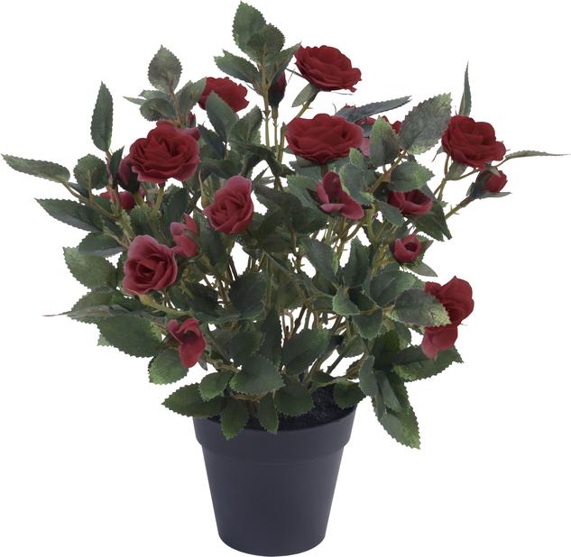 Ruusu ruukussa, K30 cm, tummanpinkki, tekokasvi