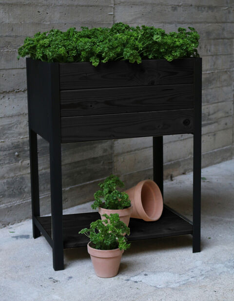 Korkea istutuslaatikko Cultura, Pituus 78 cm, Musta
