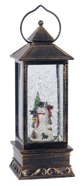 Lumiukkolyhty valaistu, Korkeus 25 cm, Monivärinen