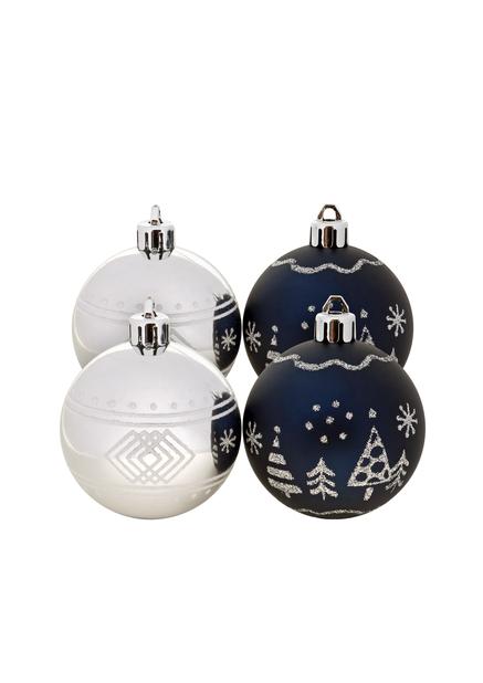 Joulupallo 4 kpl, Ø6 cm, Sininen