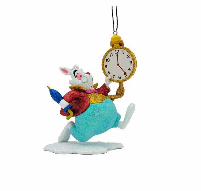 Joulukoriste Disneyn Liisa Ihmemaassa -elokuvan valkoinen kani , Korkeus 8 cm, Luonnonvalkoinen