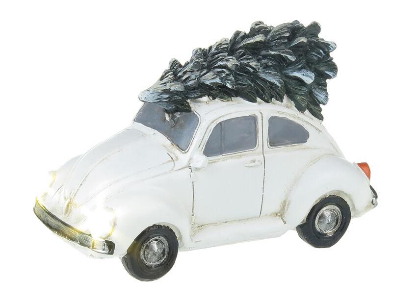 Valaistu vanhanajan jouluauto, Korkeus 7 cm, Valkoinen