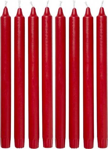 Kruunukynttilät 8 kpl, Pituus 24 cm, Punainen