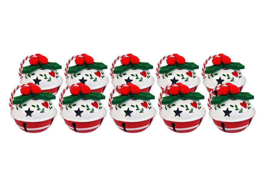 Joulukellot, 10 kpl, Valkoinen