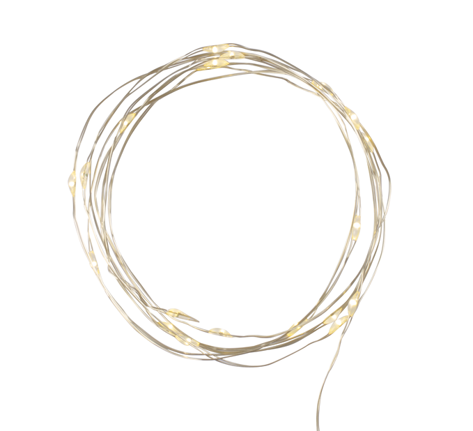 Paristokäyttöinen valoketju Knut 20 lediä, Pituus 90 cm, Messinki