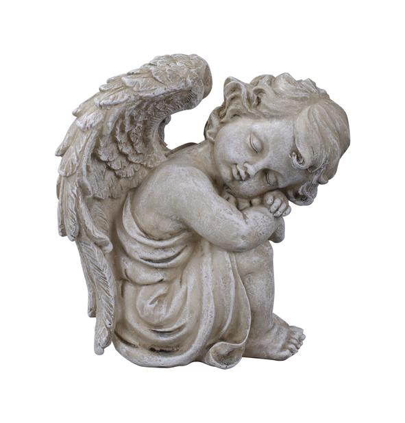 Istuva enkeli, Pituus 14 cm, Harmaa