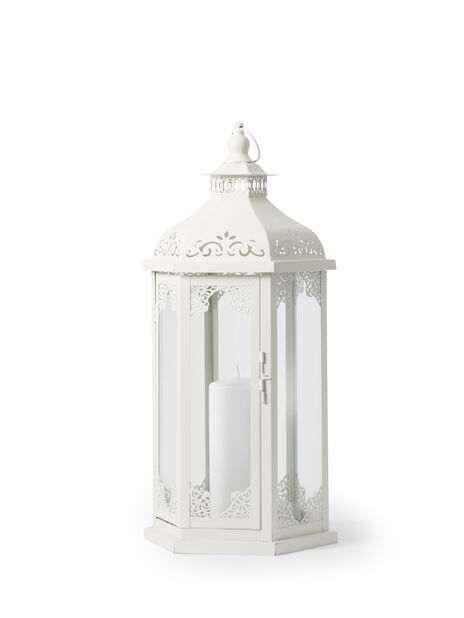 LISA METAL LANTERN S/2 H40 & 55CM,WHITE( INDOOR USE)