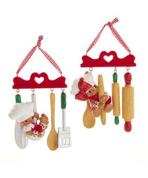 Joulukoriste piparkakkuhahmot ja keittiövälineet, Korkeus 7.5 cm, Monivärinen