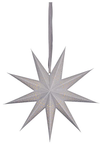Koristetähti Gloria jossa valaistus, Pituus 60 cm, Hopea