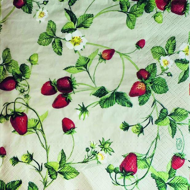 Lautasliina mansikat, Leveys 33 cm, Keltainen