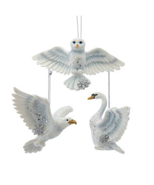 Joulukoristelinnut pöllö/kotka/joutsen, Korkeus 8 cm, Luonnonvalkoinen
