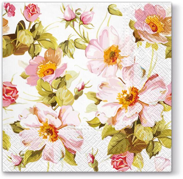 Lautasliina ruusut, Leveys 33 cm, Pinkki