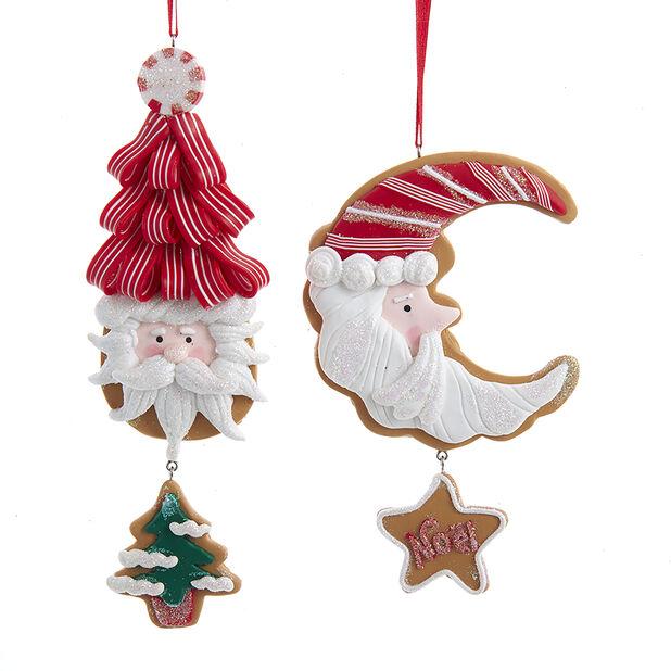 Joulukoriste joulupukki-aiheinen kuu tai kuusi, Korkeus 11 cm, Luonnonvalkoinen