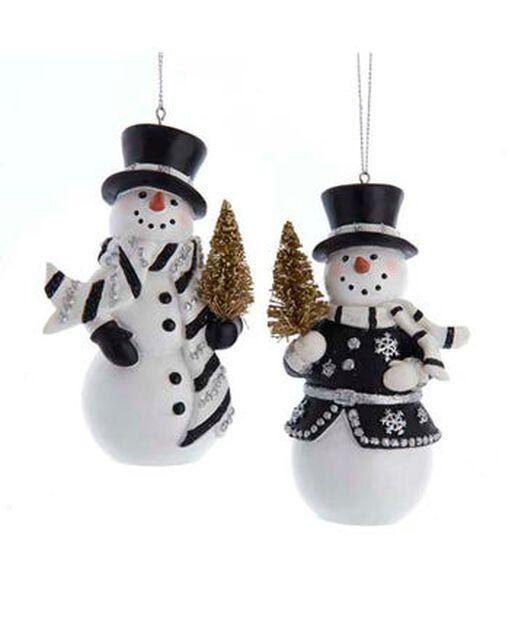 Joulukoriste lumiukko ja joulukuusi, Korkeus 11.5 cm, Monivärinen