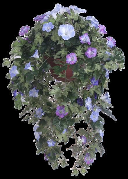 Aitoelämänlanka amppelissa, K100 cm, sininen, tekokasvi