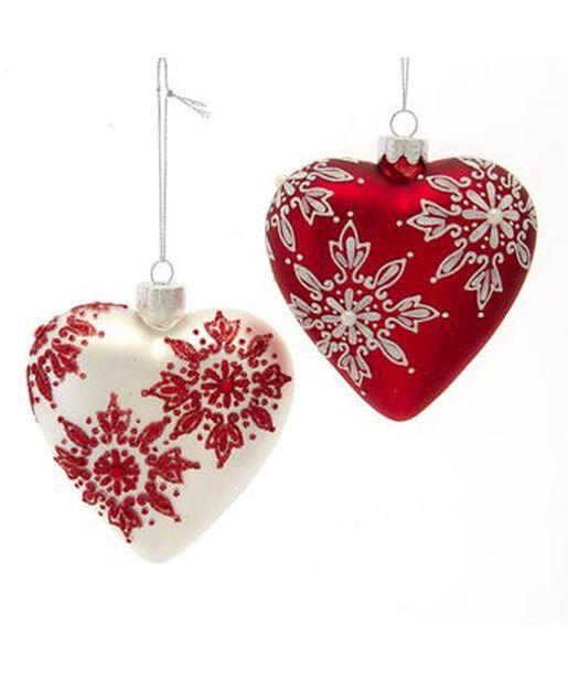 Joulupallo sydän, Korkeus 10 cm, Monivärinen