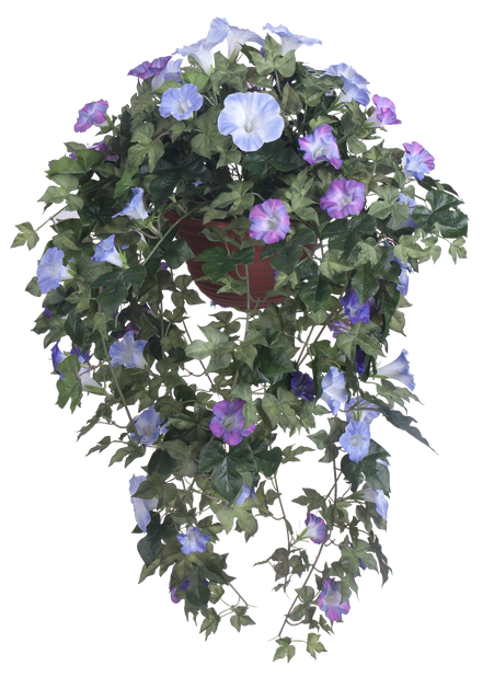 Aitoelämänlanka amppelissa tekokasvi, Korkeus 100 cm, Sininen