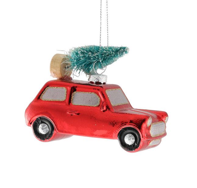 Kuusenkoriste Auto, Korkeus 4 cm, Punainen