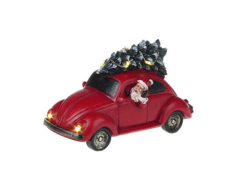 Valaistu jouluauto, Korkeus 9 cm, Punainen