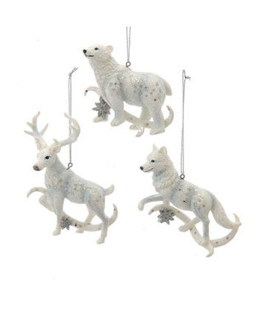 Joulukoriste karhu/peura/susi, Korkeus 8 cm, Luonnonvalkoinen