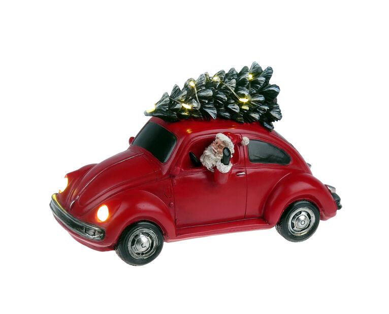 Valaistu vanhanajan jouluauto, Korkeus 10 cm, Punainen