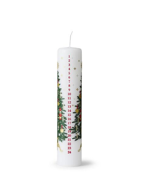 Joulukalenterikynttilä, Korkeus 25 cm, Valkoinen