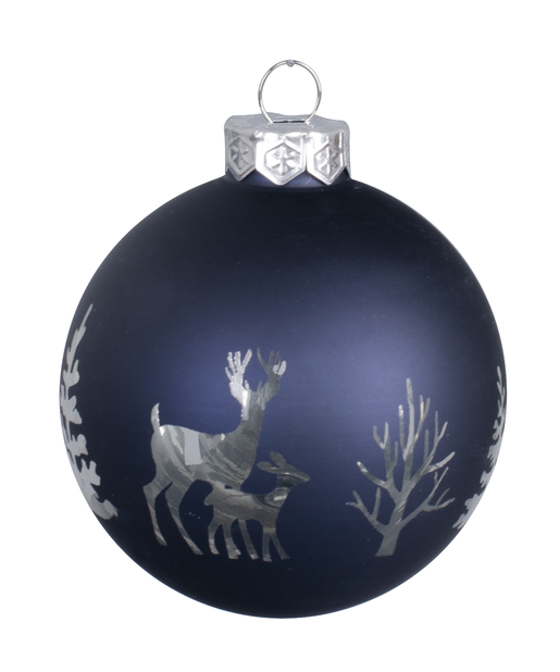Joulupallo Midnight Forest 8 cm, lasi