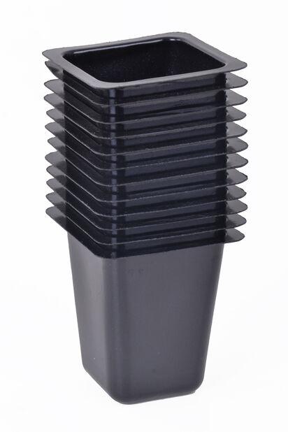 Muoviruukku nelikulmainen 12 kpl/pakk., Pituus 4.5 cm, Musta