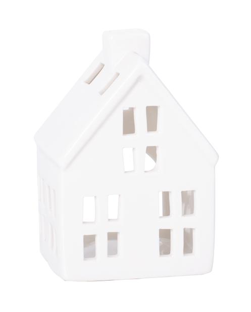 Lämpökynttilälyhty Talo, Korkeus 12 cm, Valkoinen