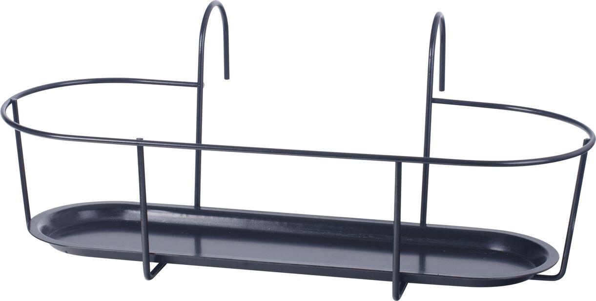 Ruukkuteline parvekkeelle, Ø50 cm, Musta