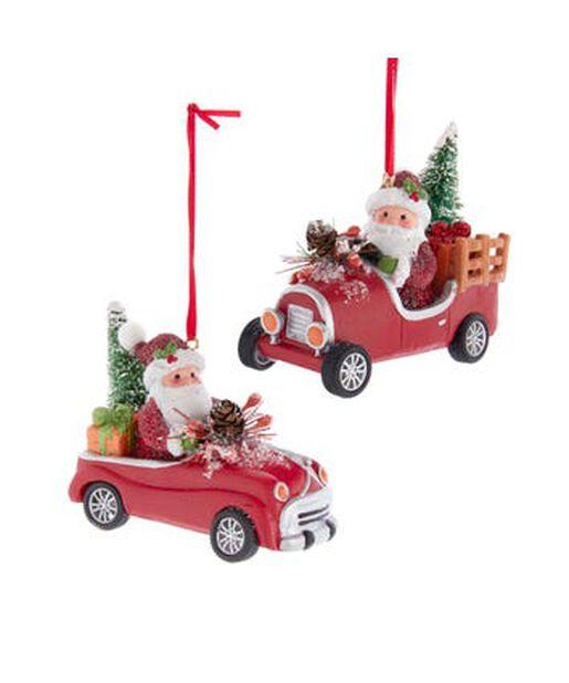 Joulukoriste joulupukki autossa, Korkeus 7 cm, Monivärinen