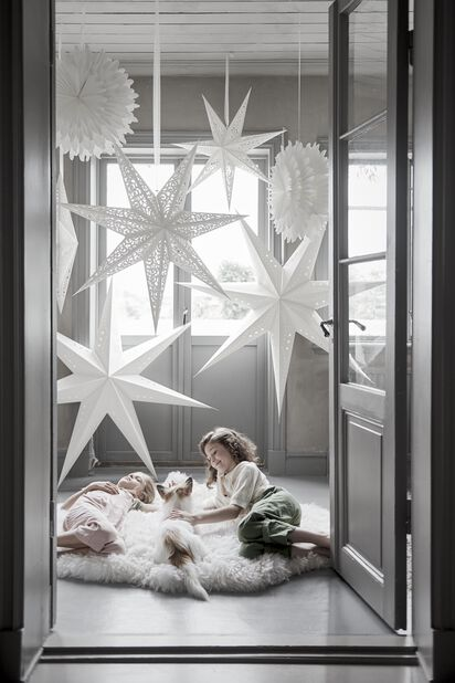 Paperitähti Snowflake, Ø50 cm, Valkoinen