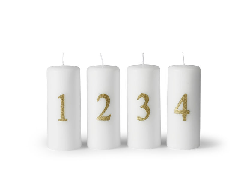 Adventtikynttilät , Korkeus 12 cm, Valkoinen