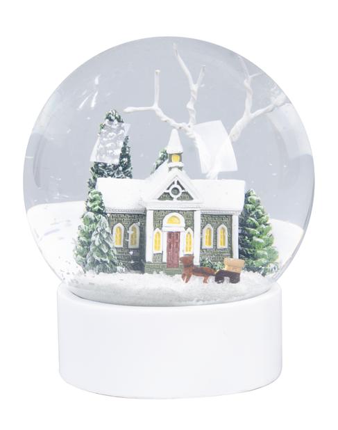 Lumisadepallo, Korkeus 10 cm, Valkoinen