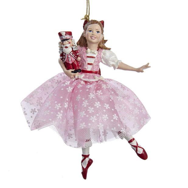 Joulukoriste Pähkinänsärkijä-baletin Klaara, Korkeus 12 cm, Pinkki