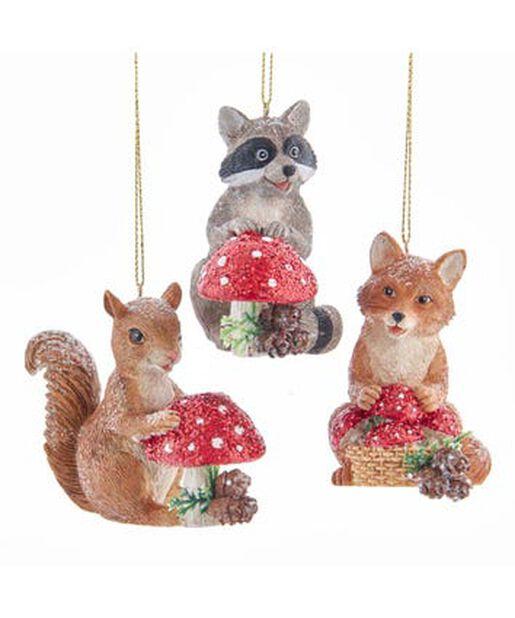 Joulukoriste orava/pesukarhu/kettu ja sieni, Korkeus 8 cm, Monivärinen