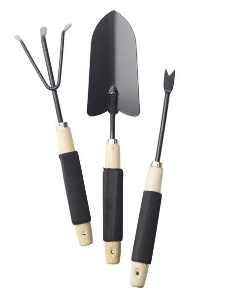Puutarhatyökalut 3-osainen, Pituus 38 cm, Musta